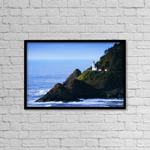 "Printscapes Wall Art: 18"" x 12"" Canvas Print With Black Frame - Heceta Head Lighthouse, Oregon, Usa by Christine Mariner"