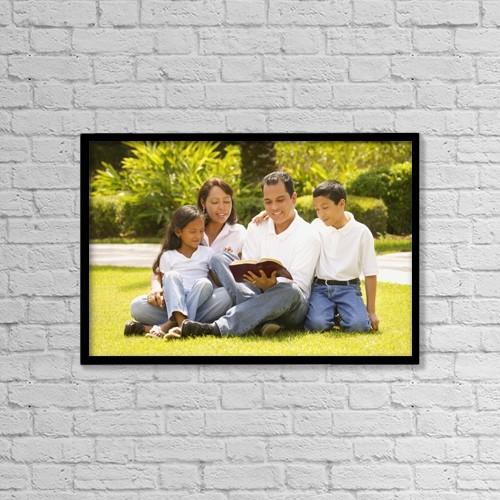 """Printscapes Wall Art: 18"""" x 12"""" Canvas Print With Black Frame - A Family Reading Together by Don Hammond"""