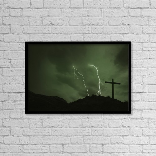 "Printscapes Wall Art: 18"" x 12"" Canvas Print With Black Frame - Cross With Lightening In Background by Don Hammond"