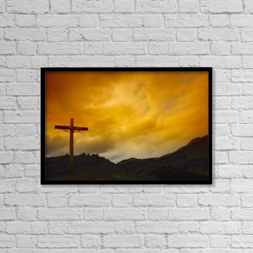 "Printscapes Wall Art: 18"" x 12"" Canvas Print With Black Frame - Empty Cross by Don Hammond"