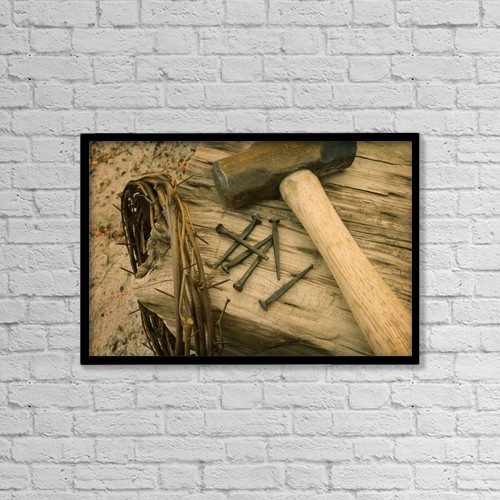 "Printscapes Wall Art: 18"" x 12"" Canvas Print With Black Frame - Symbols Of Christ's Crucifixion by Don Hammond"