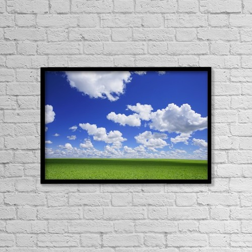 "Printscapes Wall Art: 18"" x 12"" Canvas Print With Black Frame - White Clouds In The Sky And Green Meadow by Don Hammond"