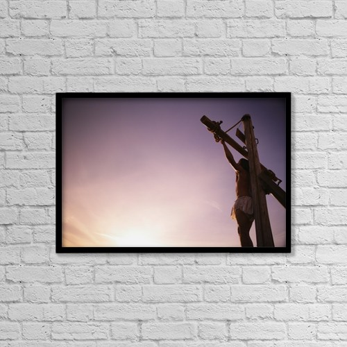 "Printscapes Wall Art: 18"" x 12"" Canvas Print With Black Frame - Jesus On Cross by Kelly Redinger"