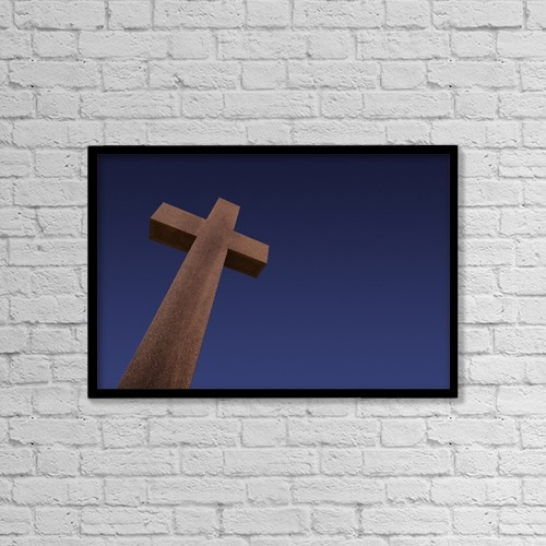 "Printscapes Wall Art: 18"" x 12"" Canvas Print With Black Frame - Tall Stone Cross by Darren Greenwood"