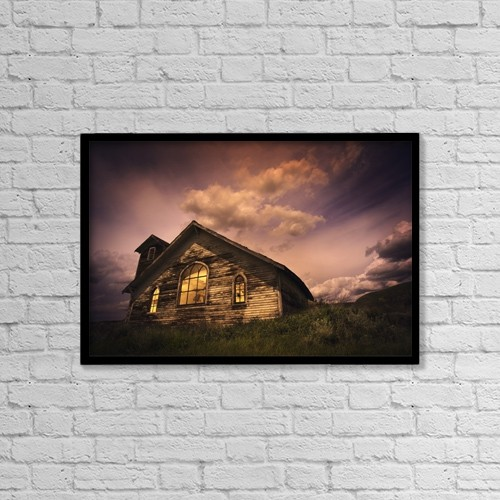 "Printscapes Wall Art: 18"" x 12"" Canvas Print With Black Frame - An Isolated Rural Building by Darren Greenwood"