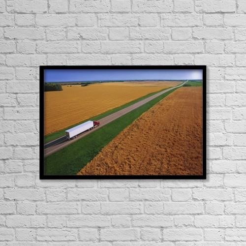 "Printscapes Wall Art: 18"" x 12"" Canvas Print With Black Frame - Semi-Trailer Truck by Don Hammond"