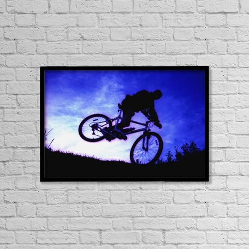 "Printscapes Wall Art: 18"" x 12"" Canvas Print With Black Frame - A Bicycle Stunt by Corey Hochachka"