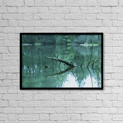 "Printscapes Wall Art: 18"" x 12"" Canvas Print With Black Frame - Scenic Woodland Lake by Raven Regan"