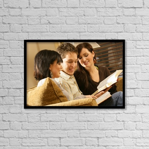 """Printscapes Wall Art: 18"""" x 12"""" Canvas Print With Black Frame - Teenagers Studying The Bible by Don Hammond"""