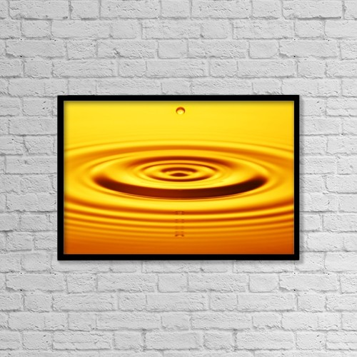 "Printscapes Wall Art: 18"" x 12"" Canvas Print With Black Frame - Split Second Drop Of Gold Liquid by Kelly Redinger"