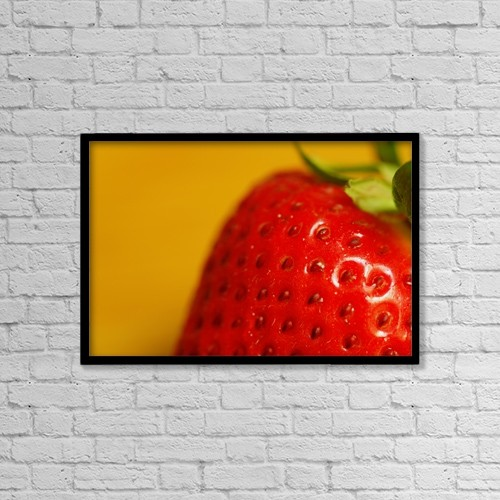 "Printscapes Wall Art: 18"" x 12"" Canvas Print With Black Frame - Close Up Of A Strawberry by Darren Greenwood"