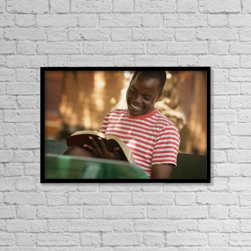 "Printscapes Wall Art: 18"" x 12"" Canvas Print With Black Frame - Man Reading The Bible by Don Hammond"
