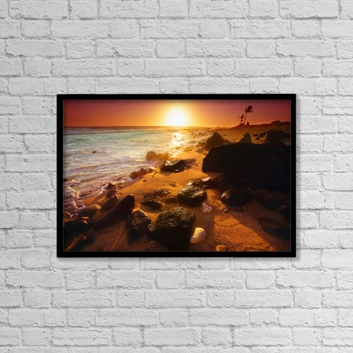 "Printscapes Wall Art: 18"" x 12"" Canvas Print With Black Frame - Rocky Shoreline, Hawaii, Usa by Don Hammond"
