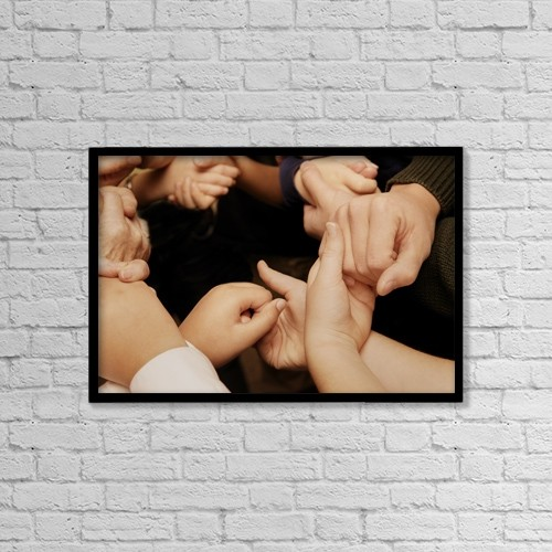 "Printscapes Wall Art: 18"" x 12"" Canvas Print With Black Frame - Holding Hands by Con Tanasiuk"