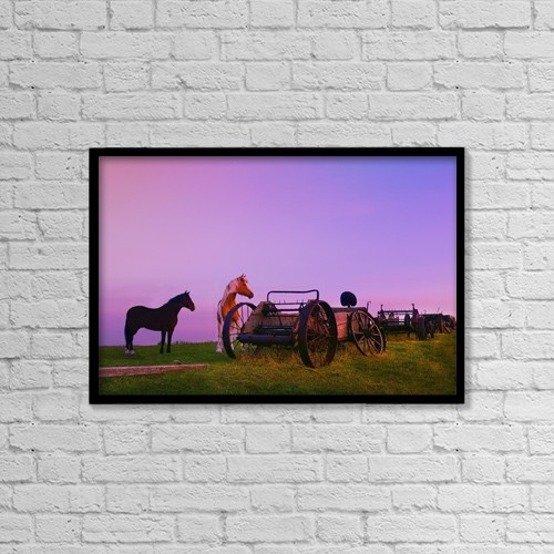 "Printscapes Wall Art: 18"" x 12"" Canvas Print With Black Frame - Horses Beside Broken Carriages by Chris and Kate Knorr"