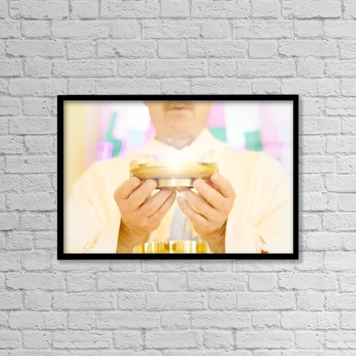 "Printscapes Wall Art: 18"" x 12"" Canvas Print With Black Frame - Priest Holding Bowl Of Wafers by Con Tanasiuk"