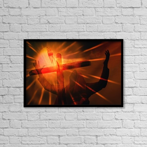 """Printscapes Wall Art: 18"""" x 12"""" Canvas Print With Black Frame - Composition Of Jesus' Death On Cross by Don Hammond"""