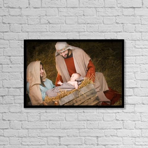 "Printscapes Wall Art: 18"" x 12"" Canvas Print With Black Frame - Mary, Joseph And Baby Jesus by Don Hammond"