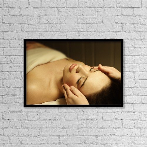 "Printscapes Wall Art: 18"" x 12"" Canvas Print With Black Frame - Woman Having A Facial Massage by Don Hammond"