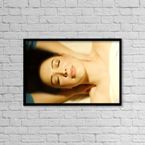 "Printscapes Wall Art: 18"" x 12"" Canvas Print With Black Frame - Woman Having Massage by Don Hammond"