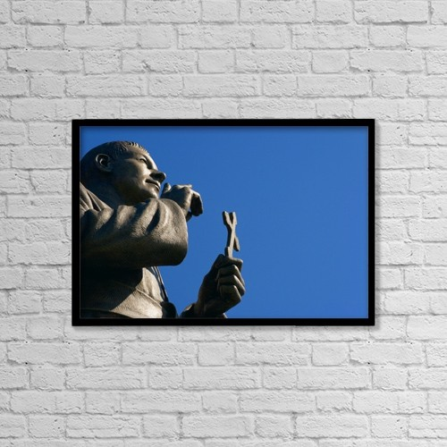 """Printscapes Wall Art: 18"""" x 12"""" Canvas Print With Black Frame - Statue Holding Cross by Don Hammond"""