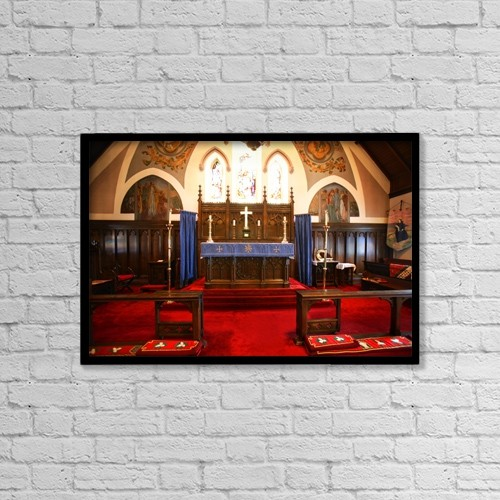 "Printscapes Wall Art: 18"" x 12"" Canvas Print With Black Frame - Altar In A Church by Con Tanasiuk"