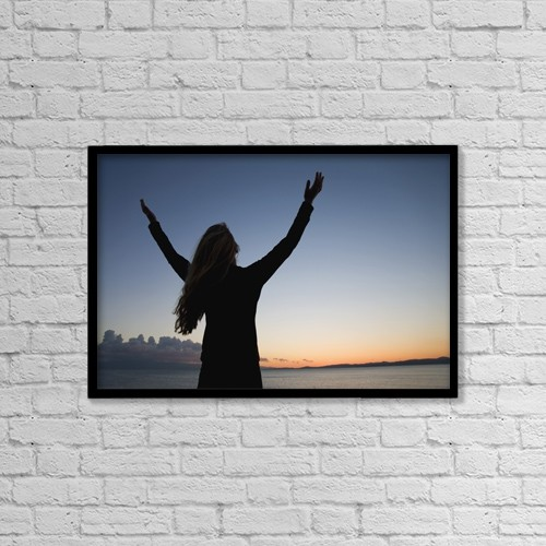 "Printscapes Wall Art: 18"" x 12"" Canvas Print With Black Frame - Woman Worshipping by Sean White"