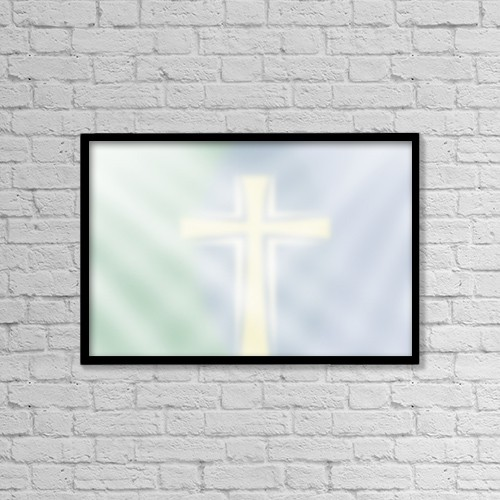 "Printscapes Wall Art: 18"" x 12"" Canvas Print With Black Frame - Faint Cross Background by Daniel Sicolo"