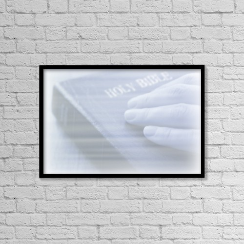 "Printscapes Wall Art: 18"" x 12"" Canvas Print With Black Frame - Hand On Bible Background by Daniel Sicolo"