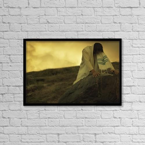 "Printscapes Wall Art: 18"" x 12"" Canvas Print With Black Frame - Jesus Prays by Don Hammond"