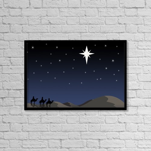 "Printscapes Wall Art: 18"" x 12"" Canvas Print With Black Frame - Three Wisemen Following Star by Daniel Sicolo"