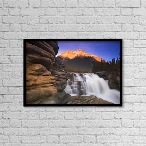 "Printscapes Wall Art: 18"" x 12"" Canvas Print With Black Frame - Beautiful Mountain Waterfall by Carson Ganci"