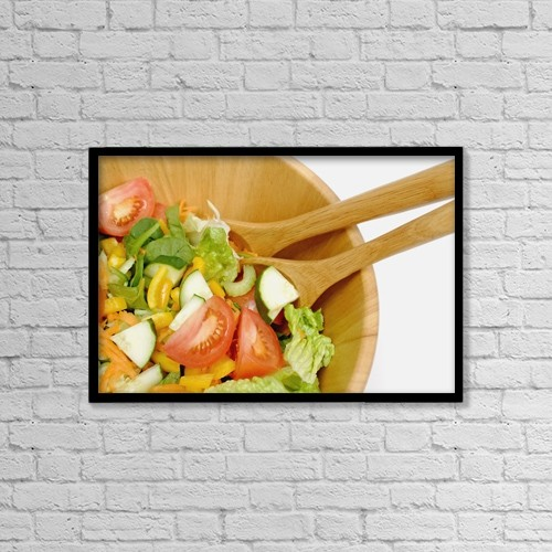 """Printscapes Wall Art: 18"""" x 12"""" Canvas Print With Black Frame - A Fresh Salad by Greenwood GNP"""