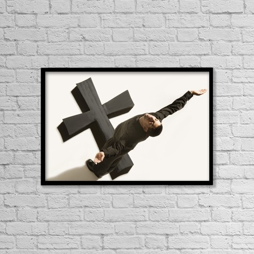 """Printscapes Wall Art: 18"""" x 12"""" Canvas Print With Black Frame - Man Worshipping by Darren Greenwood"""