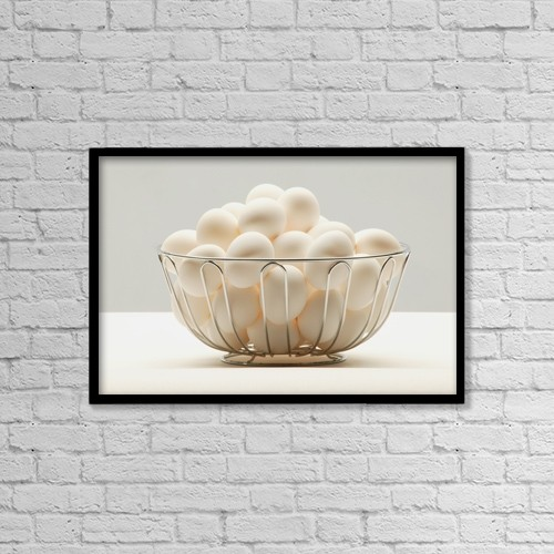 "Printscapes Wall Art: 18"" x 12"" Canvas Print With Black Frame - Eggs by Darren Greenwood"