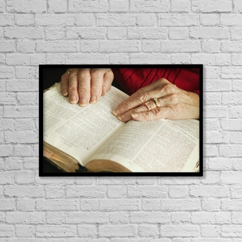 "Printscapes Wall Art: 18"" x 12"" Canvas Print With Black Frame - A Senior Reading Bible by Don Hammond"