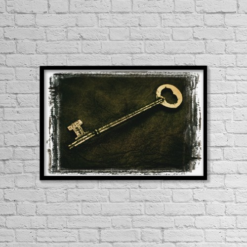 """Printscapes Wall Art: 18"""" x 12"""" Canvas Print With Black Frame - A Key by Don Hammond"""