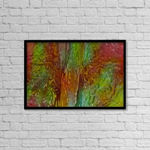 "Printscapes Wall Art: 18"" x 12"" Canvas Print With Black Frame - Green And Red Ripples by Tim Antoniuk"