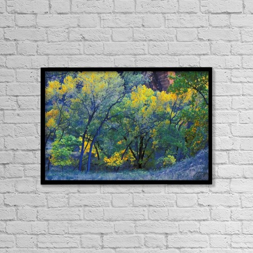 """Printscapes Wall Art: 18"""" x 12"""" Canvas Print With Black Frame - Trees On Edge Of Field In Autumn by Don Hammond"""