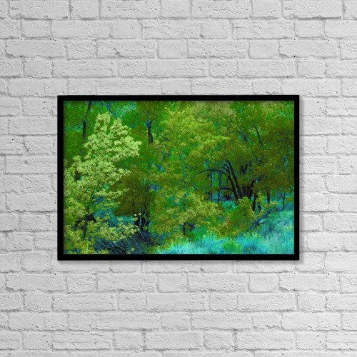 "Printscapes Wall Art: 18"" x 12"" Canvas Print With Black Frame - Bright Green Trees And Vegetation by Don Hammond"