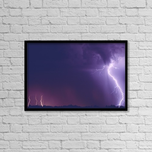 "Printscapes Wall Art: 18"" x 12"" Canvas Print With Black Frame - Lightning by Carson Ganci"