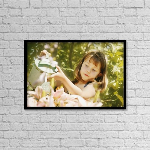 "Printscapes Wall Art: 18"" x 12"" Canvas Print With Black Frame - Child Waters Flowers by Don Hammond"