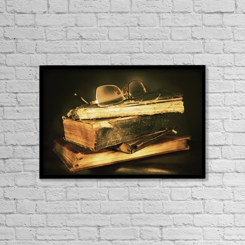 "Printscapes Wall Art: 18"" x 12"" Canvas Print With Black Frame - Glasses On Top Of Books by Don Hammond"