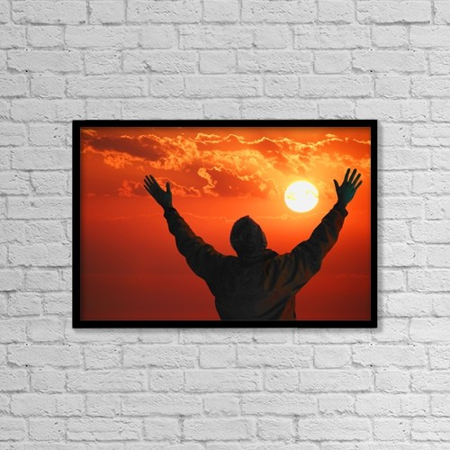 """Printscapes Wall Art: 18"""" x 12"""" Canvas Print With Black Frame - Man Lifts Hands Towards The Heavens by Don Hammond"""