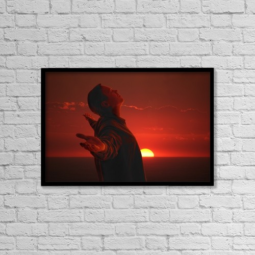 "Printscapes Wall Art: 18"" x 12"" Canvas Print With Black Frame - A Man Meditating by Don Hammond"