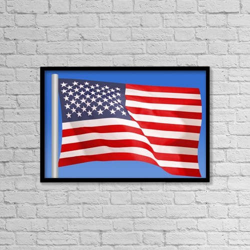 "Printscapes Wall Art: 18"" x 12"" Canvas Print With Black Frame - The American Flag by Don Hammond"