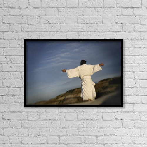 """Printscapes Wall Art: 18"""" x 12"""" Canvas Print With Black Frame - Man With Outstretched Arms by Darren Greenwood"""