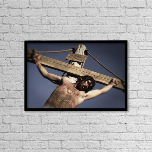 "Printscapes Wall Art: 18"" x 12"" Canvas Print With Black Frame - Jesus Dying On The Cross by Darren Greenwood"