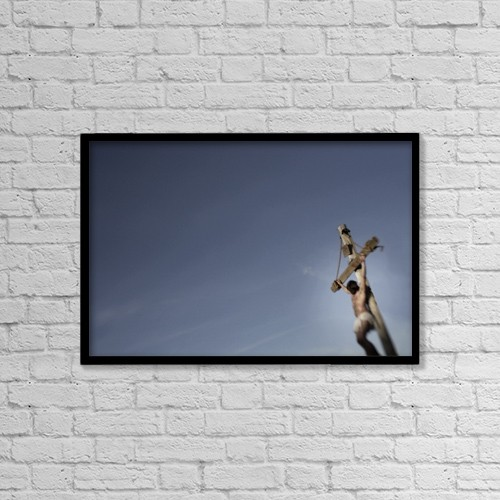 """Printscapes Wall Art: 18"""" x 12"""" Canvas Print With Black Frame - Jesus On The Cross by Darren Greenwood"""