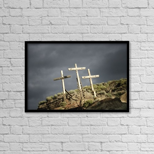 """Printscapes Wall Art: 18"""" x 12"""" Canvas Print With Black Frame - Three Crosses On A Hill by Darren Greenwood"""